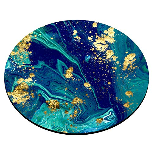 Smooffly Blue Marble Round Mouse Pad Cute Mat Gold Green Turquoise Circular Mouse Pads Size 7.9 x 7.9 x 0.12 Inch Photo #2