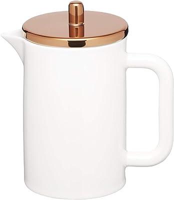 KitchenCraft Le'Xpress - Cafetera de porcelana de hueso 6 tazas con tapa de efecto cobre, 800 ml (1,5 pintas), color blanco