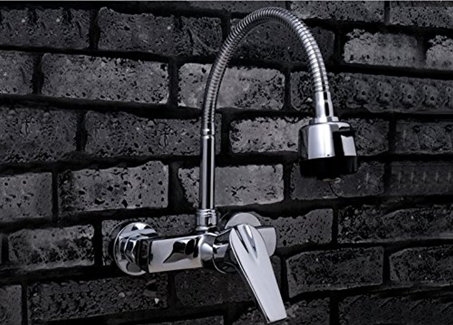 Diongrdk Copper Wall Type Hot and Cold Water Faucet, Double Hole Wash Basin Basin, Bathroom Balcony, Laundry Pool Swivel Tap.