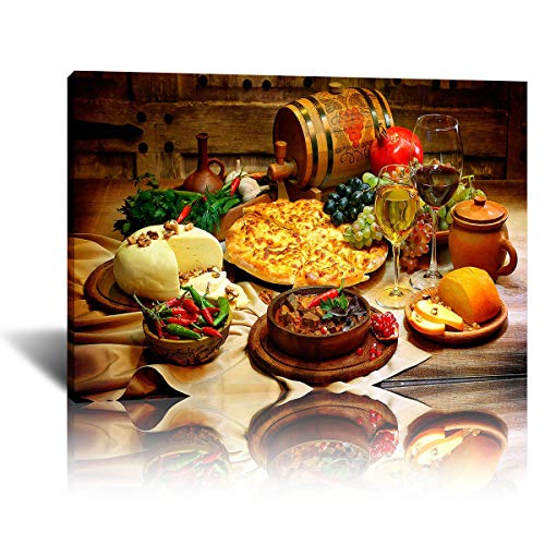 Barrel Cheese Pizza Bread Pepper Wine Poster Canvas Art Posters and Prints Illallah Quran on Canvas Wall Art Paintings for Home Decor (colorful,16x24inch-Framed)