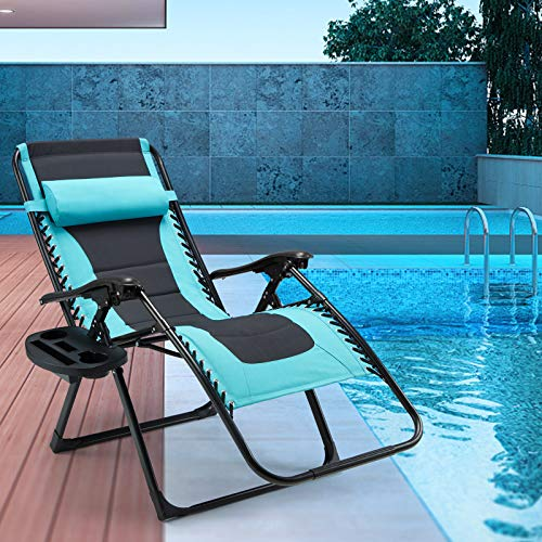 ECOTOUGE Outdoor Oversized XL Padded Zero Gravity Chair, Patio Adjustable Folding Recliner with Wide Armrest, Cup Holder, Lounge Chair with Pillow for Backyard, Beach 1PCS, Blue&Black
