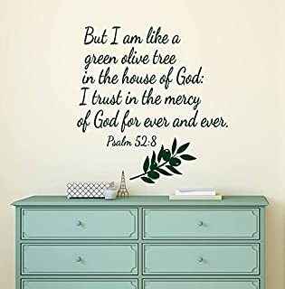 Psalm 52 8 Wall Decals. Bible Verse Decals. Quotes Vinyl Stickers. Living Room Decal. But I Am Like A Green Olive Tree,12