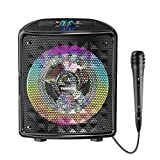 TANOCH Portable Karaoke Machine for Kids & Adults, Bluetooth Speaker with Wired Microphone for Party, Wireless PA Sound System with FM Radio, Audio Recording, TF/USB Supported Christmas Gift