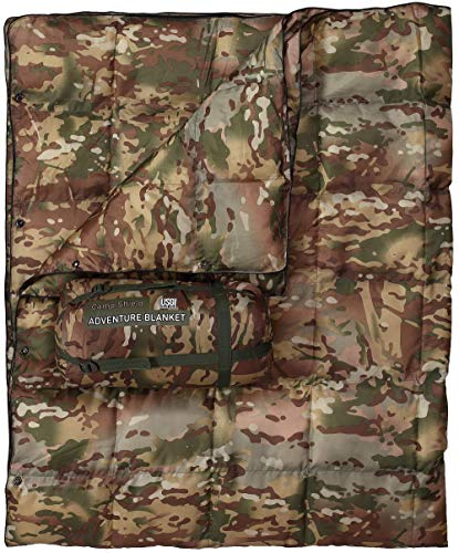 USGI Industries Military Grade Camp-Shield Adventure Blanket with Added Padding, Water Resistant, Lightweight for Camping, Hiking Backpacking, Outdoor Activities, and Survival Use. (OCP)