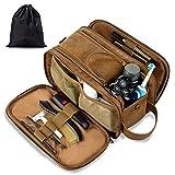 Bolsa de aseo de cuero resistente al agua para hombre, bolsa de viaje grande,...