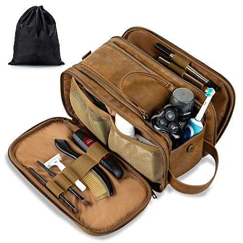Water-Resistant Leather Toiletry Bag for Men Large Travel Wash Bag Shaving Dopp Kit Bathroom Gym Toiletries Makeup Organizer with Free Wet Dry Bag (Khaki)