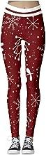 Womens Casual Christmas Print High Waist Yoga Running Sports Pants Trouser(S-XL)