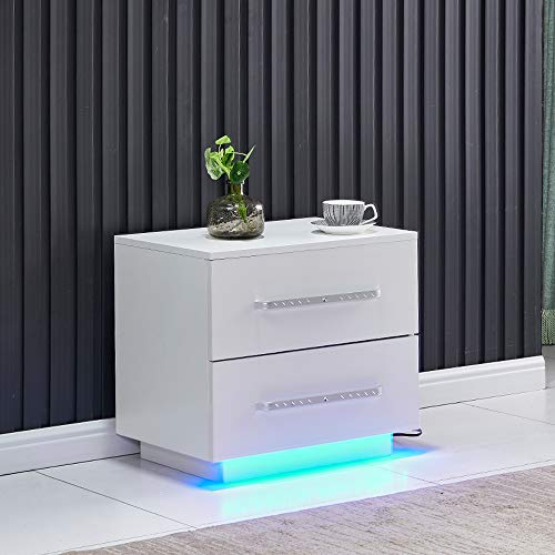 QIHANG-UK White High Gloss Bedside Table with 2 Drawers, Large Capacity Nightstand Cabinet Unit with LED Lights for Bedroom, Small Living Room End Table Side Table