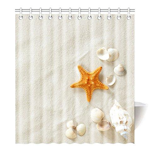 Violetpos Duschvorhang Orange Seestern Beige Strand Hochwertige Qualität Badezimmer 120 x 180 cm