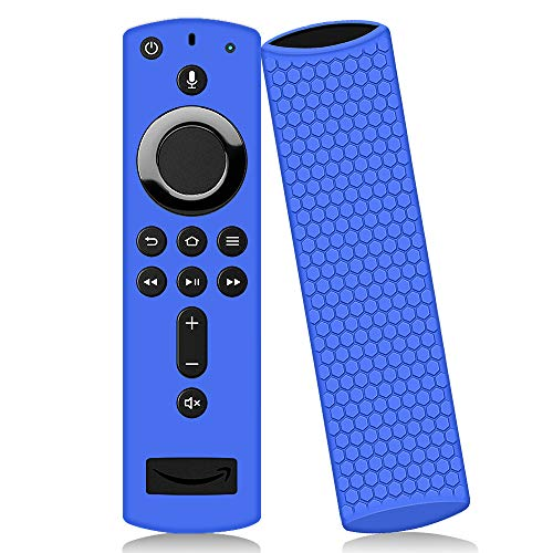 Remote Case Cover Sleeve for Amazon Fire TV Stick 4K Ultra HD,Protective Silicone Case Holder[Anti-Slip]Shockproof[Anti-Lost] Durable Skin for 3rd/2nd Gen Alexa Voice Remote Control Fire TV Cube-Blue
