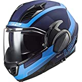 LS2 FF900 VALIANT II ORBIT - Casco de moto con tapa frontal abatible, doble visera DVS Sports Touring, color azul, azul, xx-large