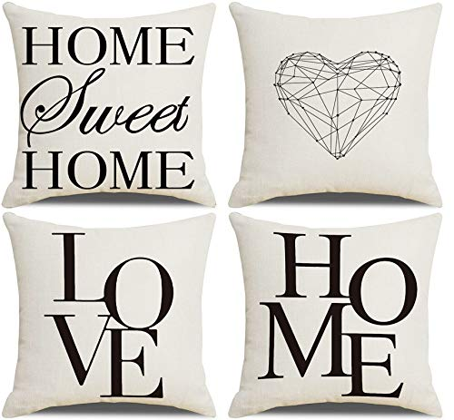 AtHomeShop - Set di 4 federe per cuscino, 40 x 40 cm, in lino con Home Sweet Home, comodo, quadrato, per camera da letto, ufficio, divano, decorazione – nero e bianco