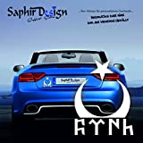 Saphir Design Göktürkce TÜRK yazi/AyYildiz/Türkiye/Sehr Coole Autoaufkleber / 10x12cm / A140 Farbe Weiss