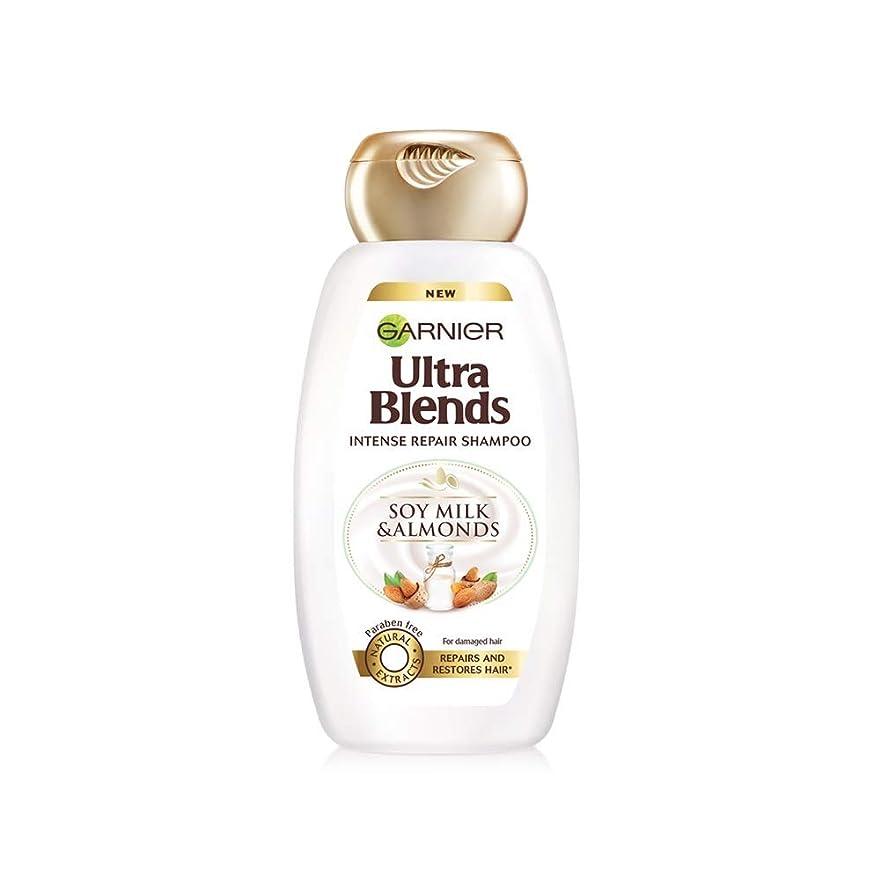 羊の確かな延ばすGarnier Ultra Blends Shampoo, Soy Milk & Almonds, 340ml