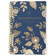 """Emily Ley 2019 Monthly Planner, The Simplified Planner, 5"""" x 8"""", Small, Customizable Clear Poly Cover, Gold Floral (EL100-202)"""