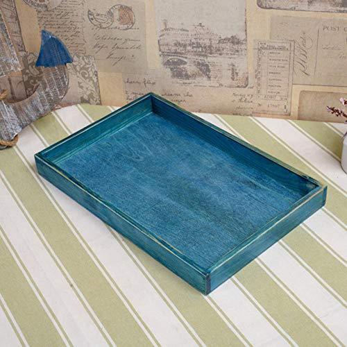 GXMWD Palette Hochzeit Dekoration AufbewahrungsboxRetro Holz Lebensmittelgeschäft Schreibtisch Aufbewahrungsbox Heimtextilien Massivholz Tablett Altes Holz, Blau