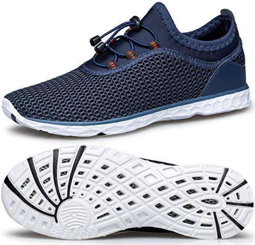 MURDESOT Womens Water Shoes Quick Dry Aqua Sneakers Sports for Kayak Boat Pool Beach Swim Diving Blue Breathable Mesh US Size 9.5