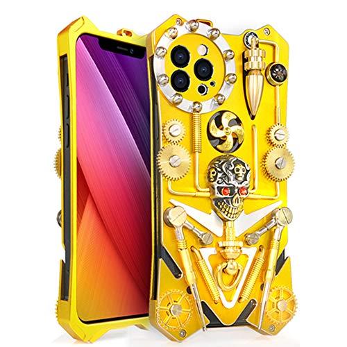 MQman メカニカルギア iPhone12 Pro ケース スタンドパーツ付き 背面パーツ 回転可能 手作り メタルカバースチームパンク抽象芸術 ゴシック風スカルデザイン (iphone12pro)