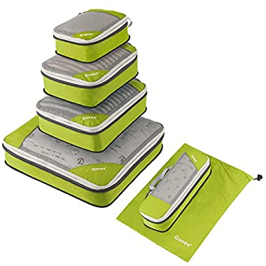 Gonex Compression Packing Cubes Mesh Organizers L+M+S+XS+Slim+Laundry Bag Green