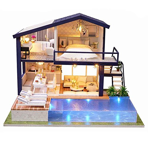 Wapern Dollhouse Kit, DIY Doll House Kit zusammengebaut, Musik Mini House Apartment Cottage mit Pool, Miniatur Dollhouse Kits für Weihnachten Geburtstag