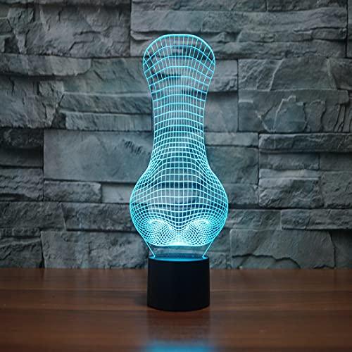 Yyhmkb Nocturna Led Relajante Luz Nocturna Con Sensor Dulce Lampara Mesilla Nariz Colorida Luz 3D Led Luz Estéreo Visual Luz De Regalo Táctil