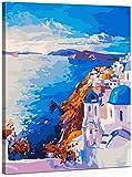WISKALON Pintar por Numeros Kit 16 * 20 Pulgadas Pintura por Números para Adultos Niños DIY Pintura al óleo Sobre Lienzo Santorini con Marco de Madera