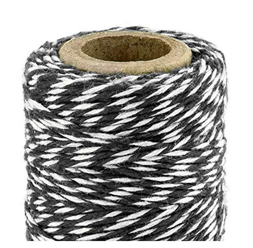 Libetui Backschnur aus Baumwolle Bäckerschnur Schwarze Packschnur Bakers Twine Geschenkverpackung Bastelschnur Geschenk verpacken Schnur für Geschenke 50m Schwarz-Weiß