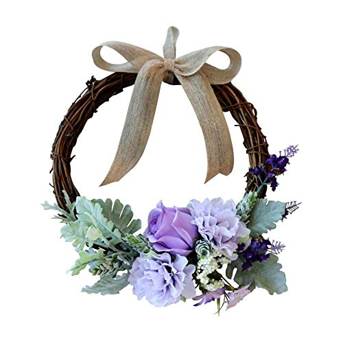 AMOYEE Artificial Wreath Hanging Rose Garland Swag for Indoor Outdoor Window Wall Wedding Party Decoration (Floral Wreath, 26cm Rose Blue/Purple)