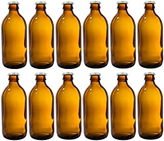 12 oz Home Brewing Dark Amber Glass Empty Refillable Beer Bottles with Gold Crown Caps Tops (12 PACK) + Measuring Cup