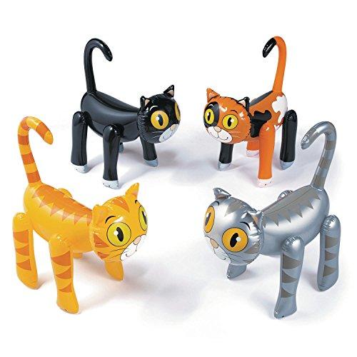 cama24com Katzen aufblasbar 4 Stück Partydekoration Kindergeburtstatg mit Palandi® Sticker