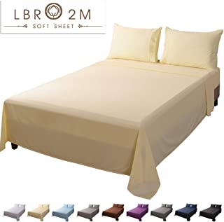 LBRO2M Bed Sheet Set Queen Size 16 Inches Deep Pocket 1800 Thread Count 100% Microfiber Sheet,Bedding Super Soft Comforterble Hypoallergenic Breathable,Resistant Fade Wrinkle Cool Warm,4 Piece(Yellow)