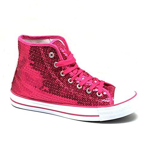 Unbekannt Pailletten Schuhe Pink Glitzer 36-42 Damen & Herren Designer Schnürer (37)