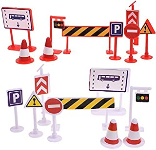 BCP 18 Pieces Street Signs Playset Traffic Signs Playset for Children Play