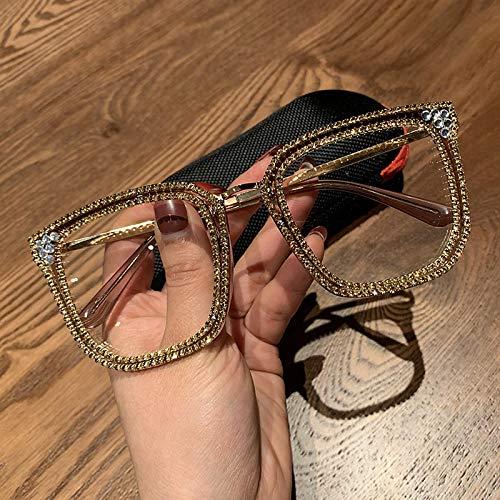 Secuos Moda Gafas De Sol De Ojo De Gato con Diamantes Dorados para Mujer, Gafas De Sol De Diseñador De Marca, Gafas De Sol para Hombre, Anteojos Transparentes De Metal Vintage, Uv400 1820