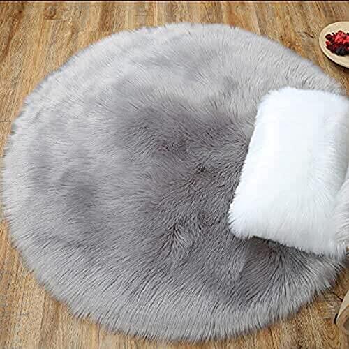 HEQUN Peau de Mouton synthétique,Cozy Sensation comme véritable Laine Tapis en Fourrure synthétique, Man-Made Luxe Laine Tapis de Canapé Coussin (Rond Gris, 90x90CM)