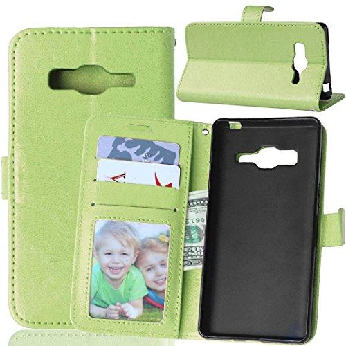 Fatcatparadise Kompatibel mit Samsung Galaxy Z3 Hülle + Bildschirmschutz, Flip Wallet Hülle mit Kartenhalter & Magnetverschluss Halterung PU Leder Hülle handyhülle (Grün)