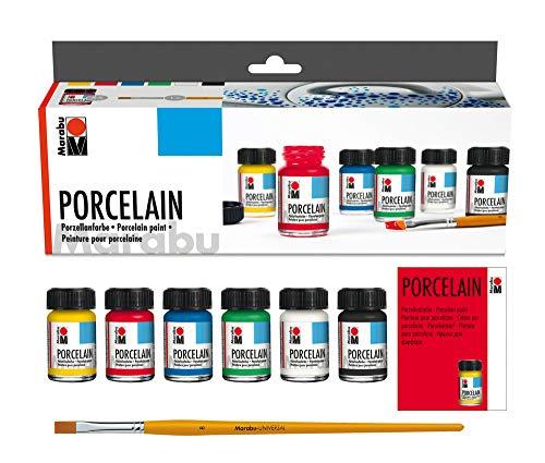 Marabu 1105000000087 - Porcelain Starter Set, Porzellanmalfarbe auf Wasserbasis, spülmaschinenfest ohne Einbrennen, geeignet zum Malen, Stempeln und Schablonieren, 6 x 15 ml Farbe und Pinsel