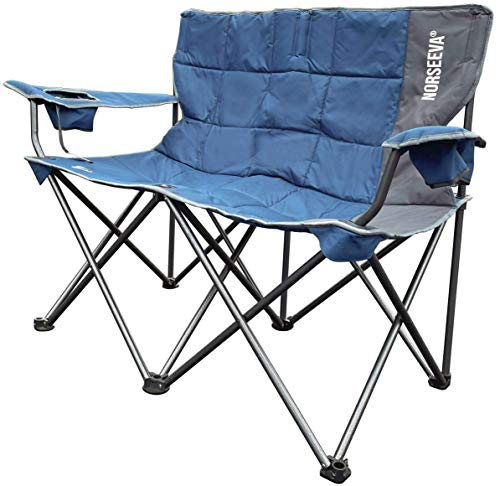 NORSEEVA Heavy Duty loveseat Camping Chair - Perfect Double Outdoor Folding Chair with Bottle Opener for Camping, Beach, Adults,...