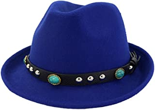 SAIPULIN-AU 2019 Men's and Women's Autumn and Winter Fedora Hat Couple Dating Outdoor Humboldt Travel Woolen Hat Wide Side Jazz Cap (Color : Blue, Size : 56-58)