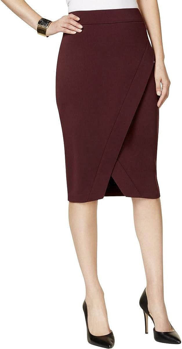 INC $69 Womens New 1695 Burgundy Slitted Faux Wrap Skirt 4 B+B