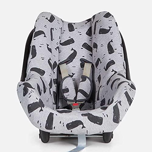 BAOBABS BCN - Funda Silla de Coche para Bebé | Grupo 0 | Universal | Con Refuerzo 3D y Transpirable | Color Grey Carbon Whales