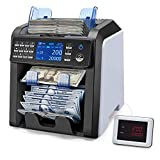 MUNBYN IMC08 Mixed Denomination Bill Counter Sorter with Value Counting, 2 Pocket for Sorting, 2 Yr Warranty, Bank Money Counter Machine, 2 CIS/UV/MG/IR Serial Number Counterfeit Detection