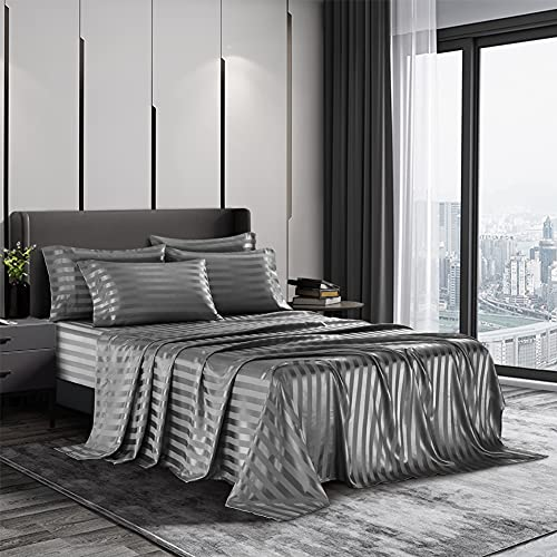 AiMay 6 Piece Satin Italian Style Bed Sheet Set Deep Pocket Stripes 1800 Luxury Rich Silk 1 Flat Sheet 1 Fitted Sheet 4 Envelope Pillowcases Stain-Resistant Wrinkle Free (King, Grey)