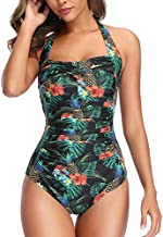 Smismivo Tummy Control Swimwear Black Halter One Piece Swimsuit Ruched Padded Bathing Suits for Women Slimming Vintage Bikini (Pineapple, Small)