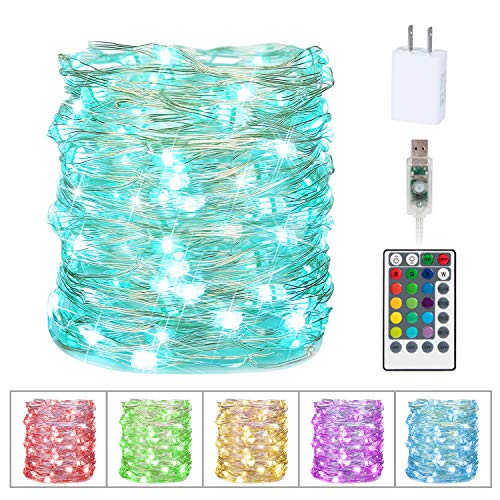 Minetom 33Ft 100LEDs Fairy Lights String Lights Led Color Changing String Lights Twinkle Lights with Remote for Bedroom Indoor Christmas Wedding Costume 16 Colors (USB Style)