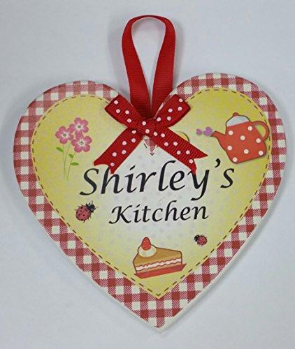 Shirley nommé personnalisé en forme de cœur Kitchen Plaque magnétique par Sterling effectz