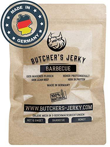Beef Jerky Made in Germany von BUTCHERS JERKY mit hohem Proteingehalt [NEUZUGANG] | 3 Geschmacksrichtungen (Barbecue, 250 Gramm)