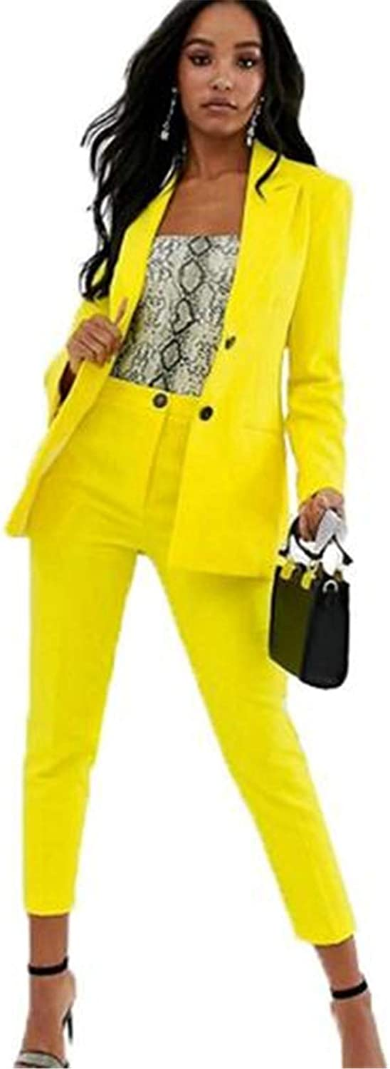 Yellow Women Suits Blazer Set Ladies Office Business Suits Wedding Tuxedos Party Wear Suits