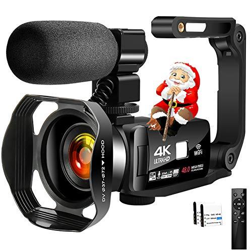 4K Camcorder Digital Video Camera WiFi Vlogging Camera Camcorders with Microphone & Remote Control 3.0