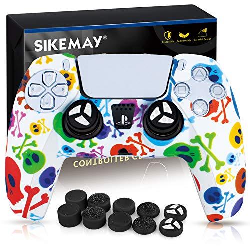 SIKEMAY Silikon-Schutzhülle für PS5 Dualsense Controller Grip x1, Schutzhülle für Playstation 5 Zubehör mit 8 Daumengriffkappen (bunter Totenkopf)